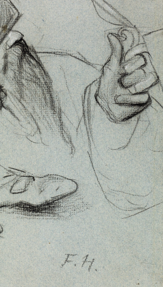 Ferdinand Hodler – Studie eines bärtigen Mannes und Kopfstudie eines Soldaten – Signatur